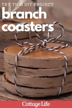 Make these DIY branch coasters for an easy gift idea. Follow the step by step craft guide. #DIY #craft #giftidea #diygifts #CottageLife Cottage Crafts, Cottage Homes, Cottage Christmas, Easy Gifts, Crafts To Make, Diy Design, Home Improvement, Coasters, Craft Projects
