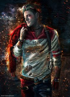 Jensen as a male version of Harley Quinn.