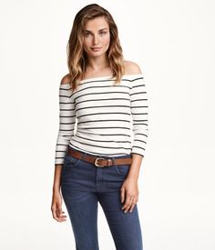 Off-the-shoulder Top (White/striped) | H&M US