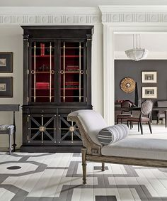 Her Josephine cabinet and Demetria chaise longue pay homage to classical forms - Mary McDonald for Chaddock furniture #hpmkt painted floor