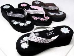 Ladies Bling Flip Flops Platform Wedge Thongs Sandals Rhinestone Look #PlatformsWedges