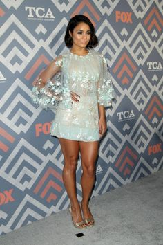 Vanessa Hudgens wearing Georges Chakra Dress, Le Vian Diamond Ring and Paul Andrew Liva Sandals