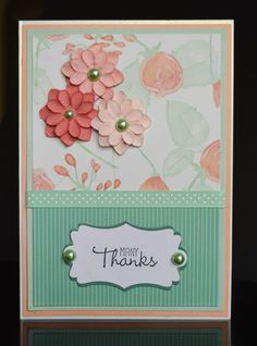 Handmade Elegant Thank You Card with 3D Paper Flowers and Pearls-Many Thanks Handmade Greeting Card-Pink and Aqua by TreasureIslandCards on Etsy
