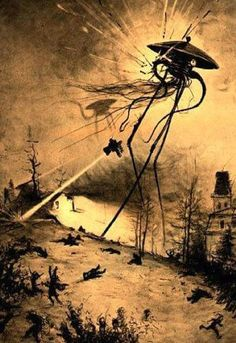 Illustration for the 1906 edition of the H. Wells novel The War of the Worlds, by brazilian illustrator Henrique Alvim Corrêa. Science Fiction, Aliens, Roman, New Retro Wave, George Rr Martin, Sci Fi Movies, War Machine, The Martian, Sci Fi Art