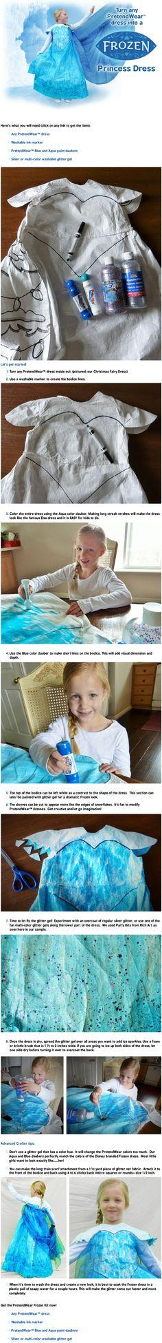 Learn how to make any PretendWear dress into a frozen princess dress just like the movie!