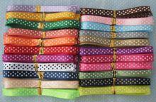 "Free shipping 20pcs 3/8"" 10mm satin ribbon printed white dots packing belt gift wedding party deco craft bows Garments Accessory(China (Mainland))"