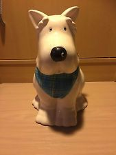 80s white Scottish terrier dog COOKIE JAR Canister LOLLY JAR scotty dog