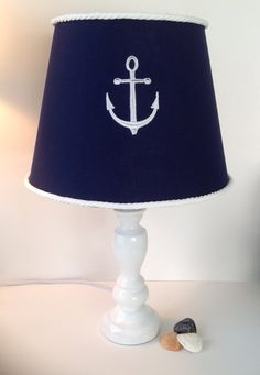 Nautical Anchor Lamp Shade Navy Blue and White by LightningBugs