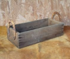 Vintage Old Wooden Box with Horseshoe Handles by CountryLeadWorks, $32.99