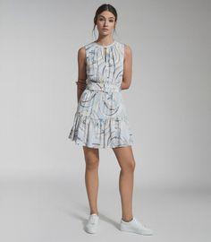 Vienna Blue/Grey Swirl Printed Mini Dress – REISS Blue Dresses, Summer Dresses, Iconic Dresses, Reiss, Vienna, A Line Skirts, Dress Collection, Blue Grey, Feminine