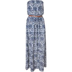 White And Navy Tribal Print Maxi Dress ($19) ❤ liked on Polyvore featuring dresses, blue, viscose dress, blue dress, rayon dress, strapless maxi dress and navy blue and white dress