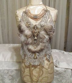 Grand Feather Vest, Feathered Beaded, Large Statement Accessory Piece, Adjustable Halter, Sexy Neo Victorian Steampunk Costume