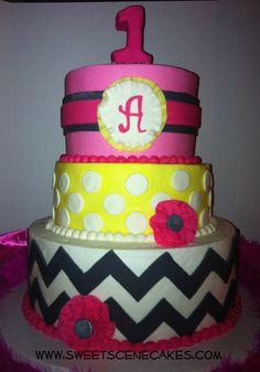 Pink Gray and Yellow Chevron 1st Birthday Cake!