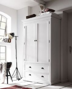 White Timber Wardrobe 2 Doors & Drawers – Allissias Attic & Vintage French Style