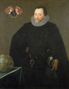 Sir Francis Drake. 1591, by Marcus Gheerserts.  He wears the Drake Jewel at his waist.