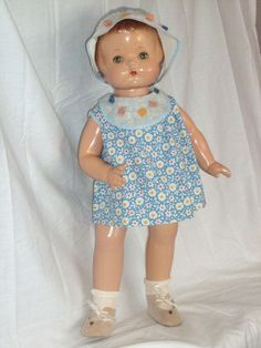 "Effanbee c1932 19"" Patsy Ann Doll in a Pristine Factory Dress and Bonnet"