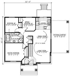 House Plan 50315 - Contemporary Style House Plan with 1025 Sq Ft, 3 Bed, 1 Bath, 1 Car Garage Family House Plans, Best House Plans, Country House Plans, Small House Plans, House Floor Plans, Modern Style Homes, Modern Tiny House, Contemporary Style Homes, Contemporary House Plans