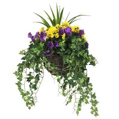 Artificial yellow and purple trailing hanging basket - The Artificial Flowers Company Yellow and purple hanging basket Hanging Basket Garden, Hanging Flower Baskets, Hanging Planters, Garden Planters, Trailing Flowers, Faux Flowers, Silk Flowers, Potted Flowers, Purple Flowers