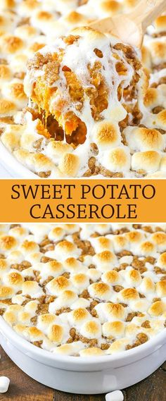 Sweet Potato Casserole with marshmallows and streusel topping! Perfect side for Thanksgiving! Sweet Potato Casserole with marshmallows and streusel topping! Perfect side for Thanksgiving! Sweet Potato Side Dish, Best Sweet Potato Casserole, Loaded Sweet Potato, Sweet Potato Recipes, Sweet Potato Caserole, Thanksgiving Side Dishes, Thanksgiving Recipes, Holiday Recipes, Hosting Thanksgiving