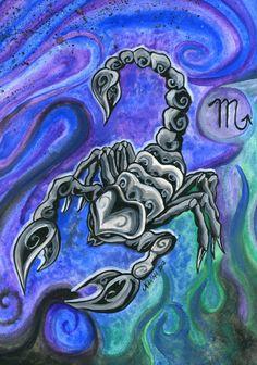 Scorpione Acquerello Segno Zodiacale Stampa di TheArtofNahima