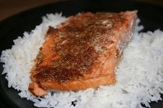 Sweet & Sour Salmon...2 large pieces of salmon, 2tbs brown sugar, 2tsp paprika, 2tsp cumin, 1/2tsp crushed garlic, 1/2tsp oregano, 1/2tsp salt, 1/2tsp red pepper. Combine spices and rub on top of salmon filet. Place filets in foil and cinch shut. Place in dry crock pot and cook 2-3hrs on high or 3-5hrs on low.