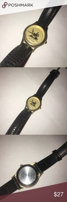 Wittnauer Women's Pegasus Vintage Gold Tone Watch Wittnauer Women's Pegasus Vintage Gold Tone Watch with black band.  Movement - Miyota Japan Case Diameter - 24 mm Vintage Champagne Dial Gold Tone case  Black Leather strap Wittnauer Accessories Watches
