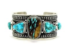 Sterling Silver ROYSTON RIBBON Turquoise Bracelet by Navajo Sunshine Reeves