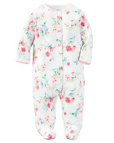 2ca13ee332f0 Baby Girl Cotton Snap-Up Sleep Baby Girl Pajamas