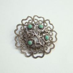 Old Taxco Mexico Mexican Sterling Silver Turquoise Brooch Pin Signed JPL 865 by redroselady on Etsy