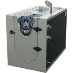Sixteen water-jet nozzles and an adjustable hand-held shower head wash your dog in an enclosed space -- without you getting wet. At least that's the premise of this dog spa, which connects to a spigot or faucet using adapters and a garden hose or a ½ inch braided metal hose.       $1,250, Hammacher Schlemmer