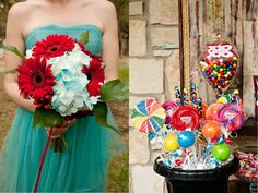 Leia & Brad's Turquoise and Red Vintage Wedding!