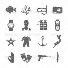 Diving Icons #graphicriver