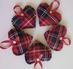 5 red tartan heart christmas holiday tree decorations,tartan heart xmas…
