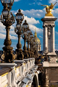 Lampposts along Pont Alexandre III, Paris France. I've been here but I want to go back!