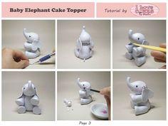 elephant tutorial in 2019 Elephant Birthday Cakes, Elephant Baby Shower Cake, Elephant Cake Toppers, Elephant Cakes, Baby Shower Cakes, Fondant Figures, Fondant Cake Toppers, Fondant Baby, Fondant Tips