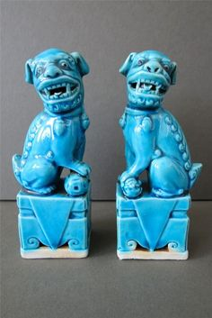 Vintage Pair Turquoise Blue Chinese Foo Dogs Figurines Statues Ceramic Marked