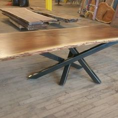 Single slab walnut table with cross over base. Hallway Furniture, Iron Furniture, Table Furniture, Rustic Furniture, Live Edge Table, Live Edge Wood, Walnut Table, Wood Table, Diner Table