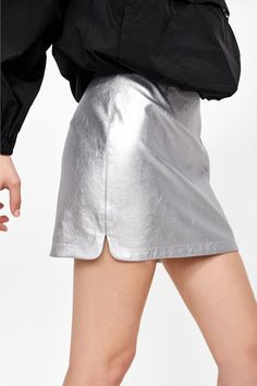 91a0078cf58 Image 5 of METALLIC-EFFECT MINI SKIRT from Zara White Shorts