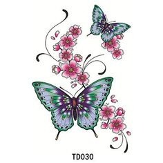 HJLWST 1pcs Temporary Tattoo Sticker Flower Butterfly -- Continue to the product at the image link. (This is an affiliate link and I receive a commission for the sales)