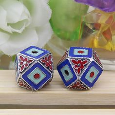 Tibetan Antique Diamond Beads Cloisonne Floral Beads Enamel Carved Beads Jewelry Findings for Necklaces/Bracelets