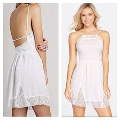 Free People White Dotted Lace Inset Slip Dress