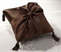 Chocolate Brown Satin Wedding Ring Bearer Pillow