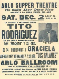 The late great Tito Rodriguez poster. Latin Music, Latin Dance, Spanish Music, Lps, Puerto Rico, Puerto Rican Music, Puerto Rican People, Musica Salsa, Sultans Of Swing