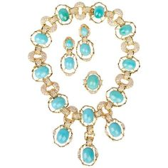 Magnificent 1974 Chaumet by Pierre Sterle Arcade Turquoise Gold Parure  | From a unique collection of vintage drop necklaces at https://www.1stdibs.com/jewelry/necklaces/drop-necklaces/