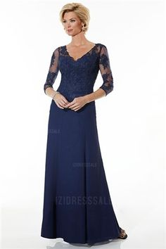 04e674f0d4 Length Sleeves Navy Burgundy Tulle Ruched Appliques Zipper Chiffon A-line  V-neck Floor Length Mother of The Bride Dress By SL 17754