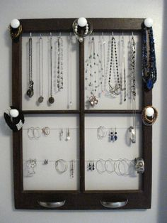 """jewelry hanging idea...add upside down """"cup"""" handles to hold rings"""