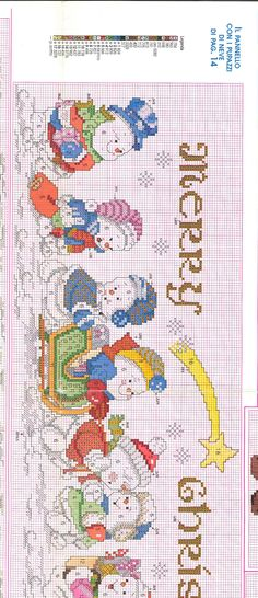 Cross-stitch Merry Christmas Snowmen, part with the color chart. Xmas Cross Stitch, Cross Stitch Boards, Cross Stitch Needles, Counted Cross Stitch Patterns, Cross Stitch Designs, Cross Stitching, Cross Stitch Embroidery, Embroidery Patterns, Christmas Cross