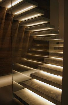 Stairway lighting Ideas with spectacular and moderniInteriors, Nautical stairway, Sky Loft Stair Lights, Outdoors Stair Lights, Contemporary Stair Lighting. Staircase Lighting Ideas, Stairway Lighting, Floating Staircase, Concrete Staircase, Concrete Steps, Cantilever Stairs, Iron Staircase, Home Lighting Design, Railing Ideas