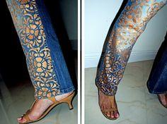 Customized Hand-Painted Metallic Denim Jeans. $40.00, via Etsy.