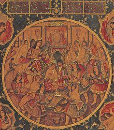 ۹-بزم زفاف | Detail عروسی ناصر الدین شاه، جلد لاکی کتاب، رقم میرزا محمد تقی مذهب اصفهانی، مورخ ۱۲۶۳ قمری، ۴۴ در ۳۲.۲ سانتیمتر A PAIR OF FINE QAJAR LACQUER BOOK COVERS DEPICTING A WEDDING OF NASIR AL-DIN SHAH SIGNED MIRZA MUHAMMAD TAQI MUZZAHHIB ISFAHANI, TEHRAN, IRAN, DATED AH 1263/1846-47 AD Of rectangular form, finely painted, each with four vignettes depicting lively interior scenes including wedding processions, a hammam scene with ladies and majlis depictions,...
